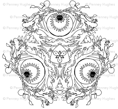 Color Your Own  Passion Fire Flower Tatoo Mandala