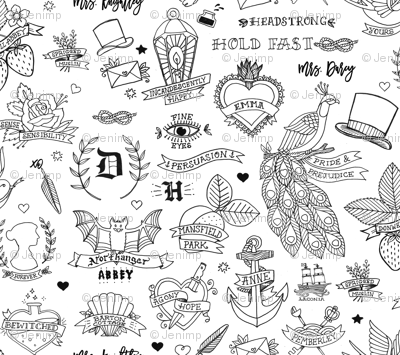 Jane Austen Tattoos - Black & White