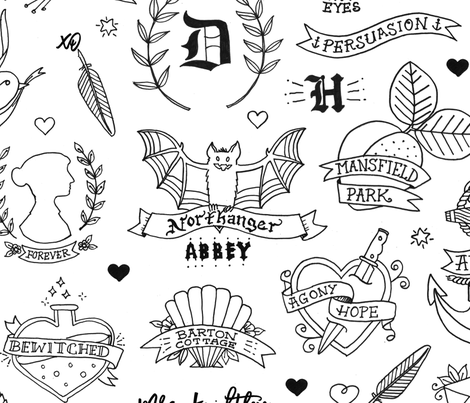 Jane Austen Tattoos - Black & White fabric by lellobird on Spoonflower - custom fabric