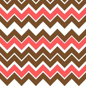 Coral + Chocolate Chevron Pattern
