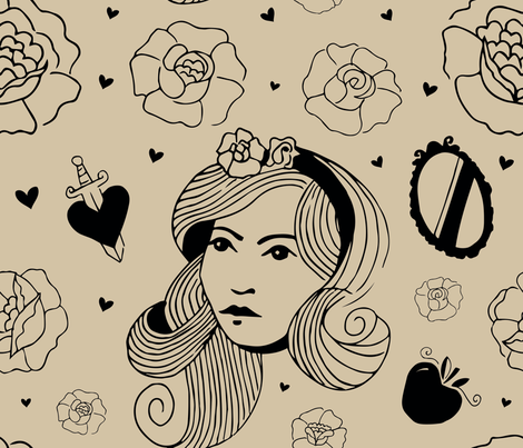 snow white ink fabric by jess_from_home on Spoonflower - custom fabric