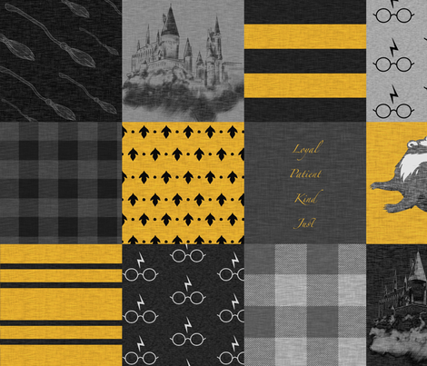 Witches and Wizards - Black And Gold - Loyal, Patient, Kind, Just fabric by sugarpinedesign on Spoonflower - custom fabric