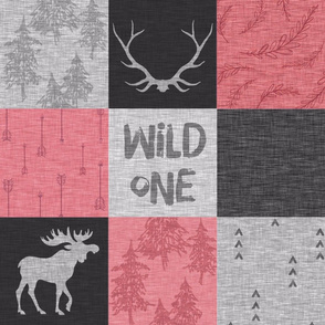 Wild One Quilt - Pink, Black And Grey - Moose Woodland Nursery