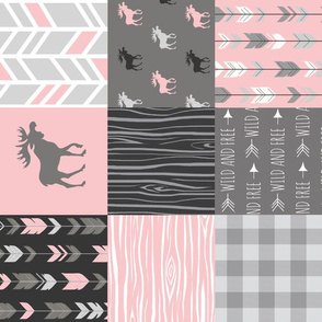 Pink Moose Wholecloth Patchwork squares - ROTATED- pink and grey, buffalo check, woodgrain, wild and free