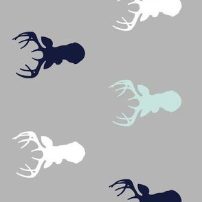 Deer - rotated - Mint,Navy, white on grey