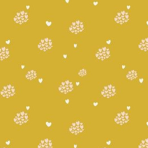 Goldenrod Sweetheart Blender Print - Hearts in Clusters for Valentine's Day or Every Day!