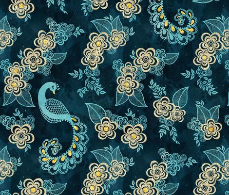 Henna Tattoo Peacock Pattern fabric by adenaj on Spoonflower - custom fabric
