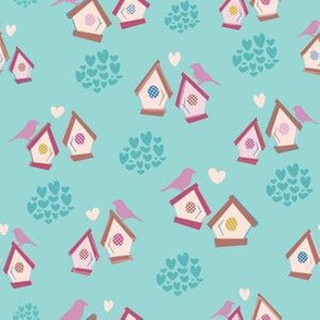 Birdhouse Love - Little Birdies + Hearts Aqua
