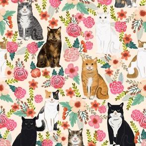 cat florals mixed breeds pet fabrics cream