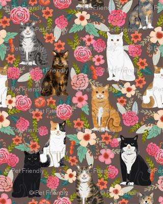 cat florals mixed breeds pet fabrics dark