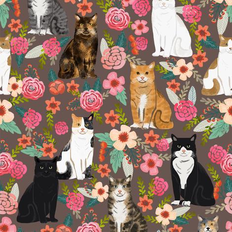 cat florals mixed breeds pet fabrics dark fabric by petfriendly on Spoonflower - custom fabric