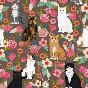 cat florals mixed breeds pet fabrics dark