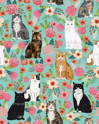 cat florals mixed breeds pet fabrics  mint