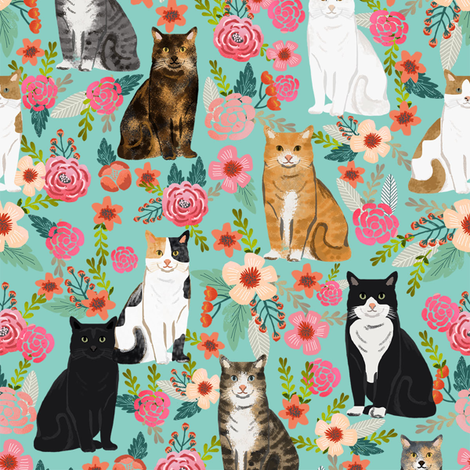 cat florals mixed breeds pet fabrics  mint fabric by petfriendly on Spoonflower - custom fabric