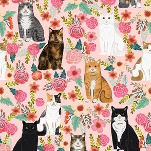 cat florals mixed breeds pet fabrics pink
