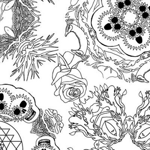 Coloring Book Page Mandala of Living and Dying