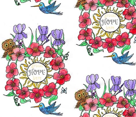 HGH Watercolor Tattoo-ed-ed fabric by katawampus on Spoonflower - custom fabric