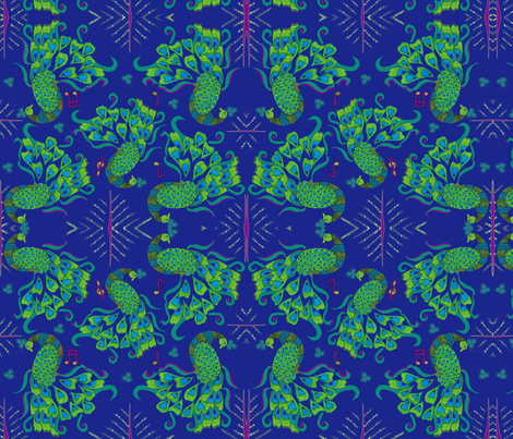 Moves on beats _peacock tatto_ fabric by fable_creations on Spoonflower - custom fabric