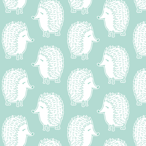 hedgehogs - dark mint fabric by littlearrowdesign on Spoonflower - custom fabric