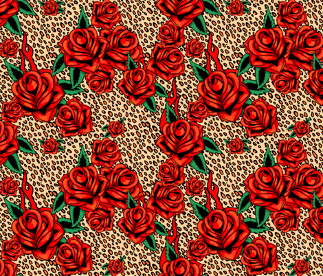 Red tattoo roses on leopard fabric by beesocks on Spoonflower - custom fabric