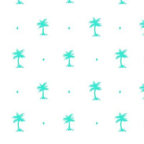 Tiny Palms  - White Teal - AndreaAlice
