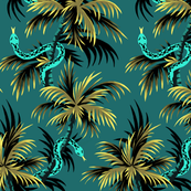 Snake Palms - Dark Teal/Mustard