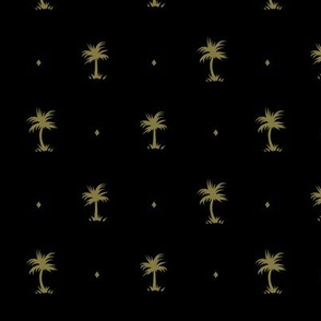 Tiny Palms - Black / Mustard - AndreaAlice