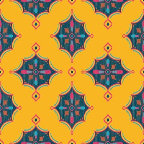 Diamond Ikat (Goldenrod) // Hand Drawn Moroccan - inspired Middle Eastern Lantern Tile & Textile Art
