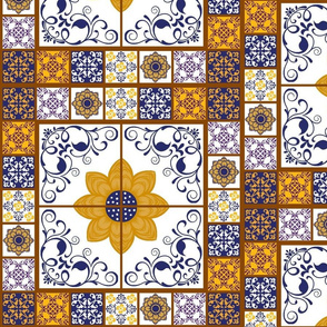 Spanish Tiled Wall - blu/wht/ylw