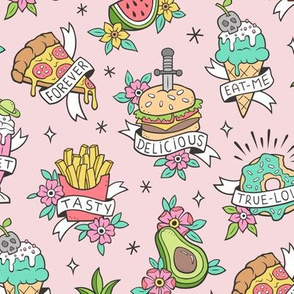 Food Tattoos on Light Pink