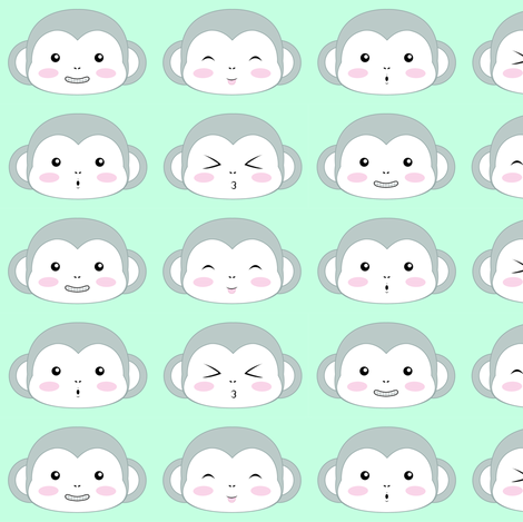 Grey monkey faces fabric by lilmoontreasures on Spoonflower - custom fabric