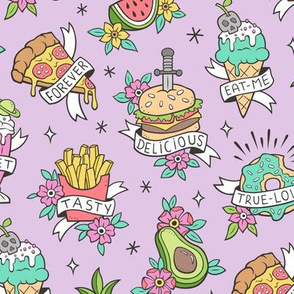 Food Tattoos on Light Purple Lilac
