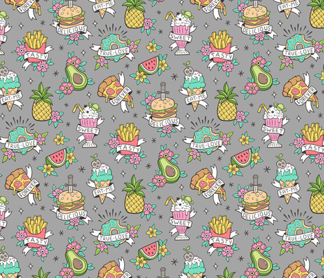 Food Tattoos on Grey fabric by caja_design on Spoonflower - custom fabric