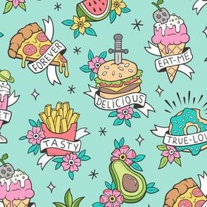 Food Tattoos on Mint Green