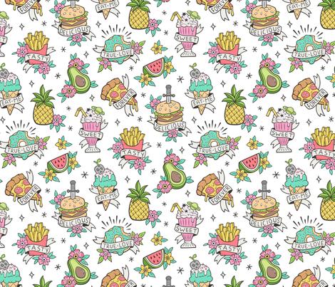 Food Tattoos on White fabric by caja_design on Spoonflower - custom fabric