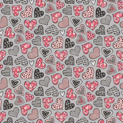 Geometric Patterned Hearts Valentines day Doodle Red Peach Pink on Grey Tiny Small