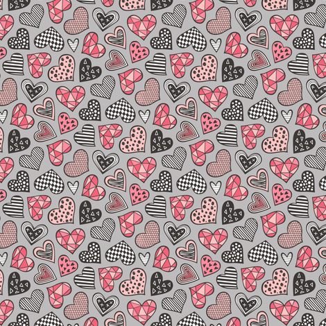 Geometric Patterned Hearts Valentines day Doodle Red Peach Pink on Grey Tiny Small fabric by caja_design on Spoonflower - custom fabric