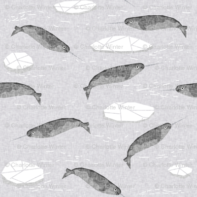 narwhal animal ocean sealife kids wildlife explorer arctic animal fabric grey