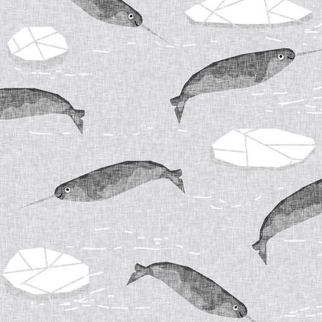 narwhal animal ocean sealife kids wildlife explorer arctic animal fabric grey fabric by charlottewinter on Spoonflower - custom fabric