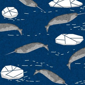 narwhal animal ocean sealife kids wildlife explorer arctic animal fabric navy