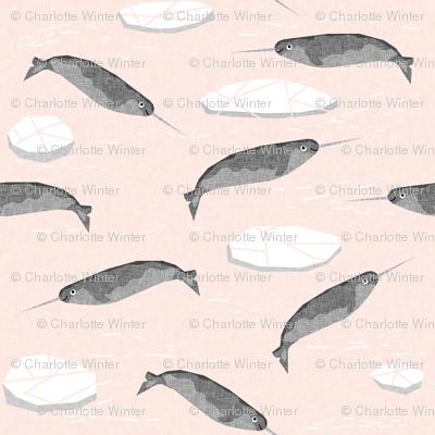 narwhal animal ocean sealife kids wildlife explorer arctic animal fabric light pink