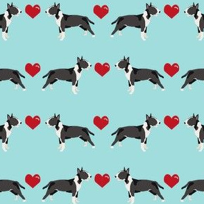bull terrier black and white coat dog breed fabric love hearts blue
