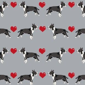 bull terrier black and white coat dog breed fabric love hearts grey