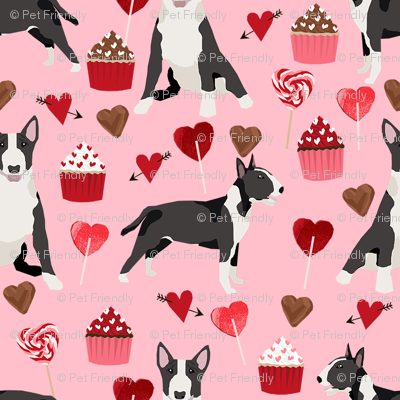 bull terrier black and white coat dog breed fabric valentines day hearts cupcakes pink