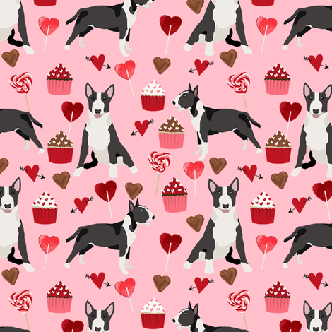 bull terrier black and white coat dog breed fabric valentines day hearts cupcakes pink fabric by petfriendly on Spoonflower - custom fabric