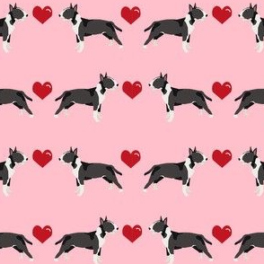 bull terrier black and white coat dog breed fabric love hearts pink