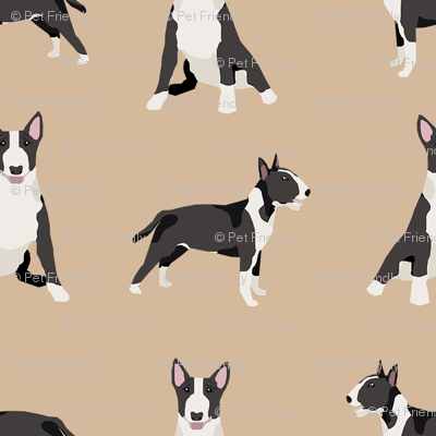 bull terrier black and white coat dog breed fabric simple tan