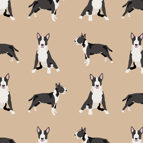 bull terrier black and white coat dog breed fabric simple tan fabric by petfriendly on Spoonflower - custom fabric