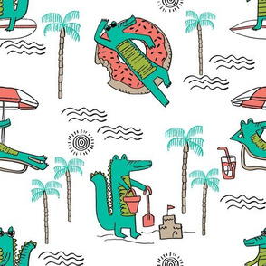 alligator vacation // tropical beach gator cute animal fabric character white bright
