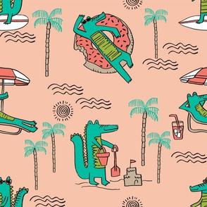 alligator vacation // tropical beach gator cute animal fabric character peach